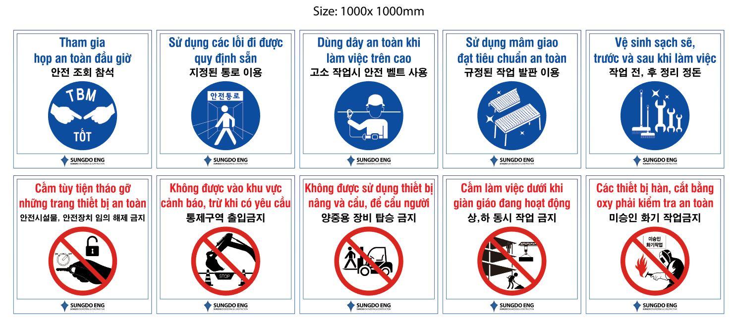 Biển bảng chỉ dẫn, cảnh báo tại công trường SAMSUNG